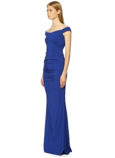 Nicole Miller Kayık Yaka Uzun Abiye Elbise Mavi